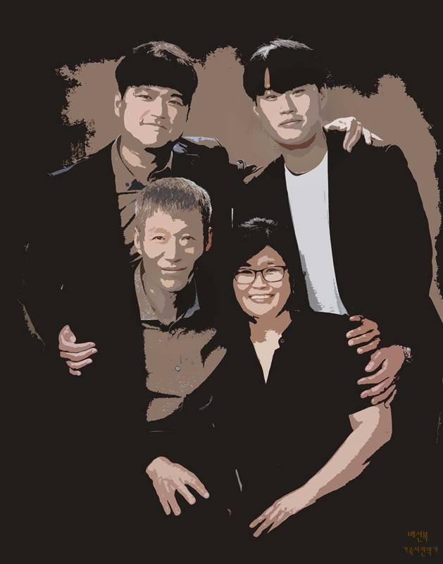 단순화 후처리 이미지 -마석 가까운 곳에서 오신 소가족사진