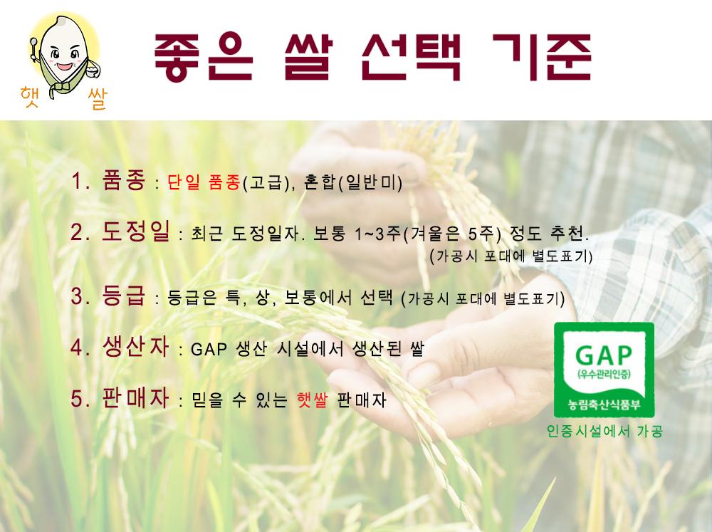 좋은 쌀 선택 기준 : 품종, 도정일, 등급, 생산자, 햇쌀가게